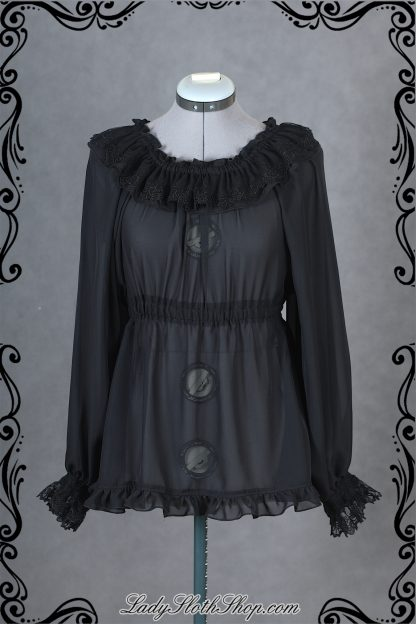 Bat lace long sleeve blouse